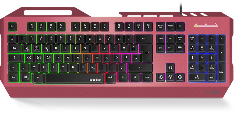 TYALO Illuminated Gaming Deskset - DE layout, berry