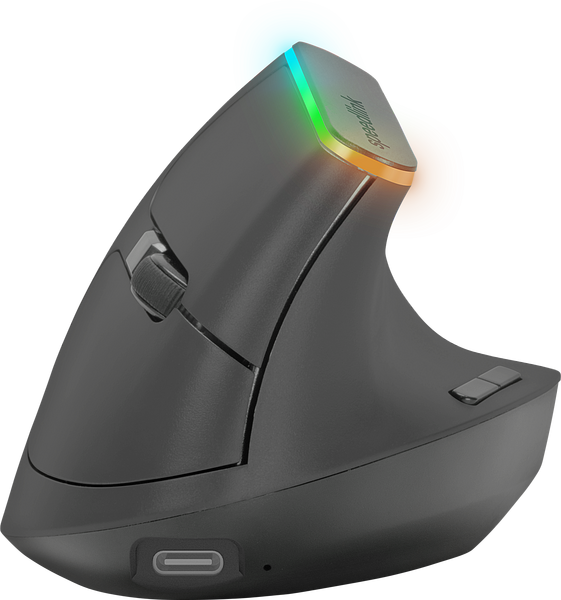 FIN Illuminated Rechargeable Vertical Ergonomic Mouse - wireless, black