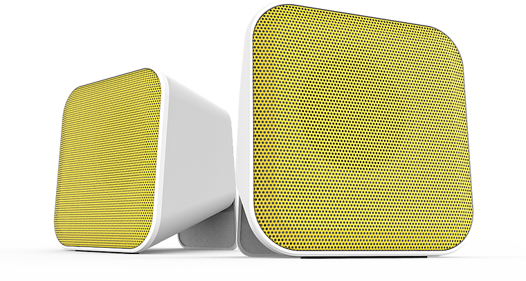 SNAPPY Stereo Speakers, white-yellow