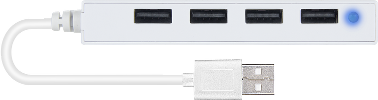 SNAPPY SLIM USB Hub, 4-Port, USB 2.0, Passive, White