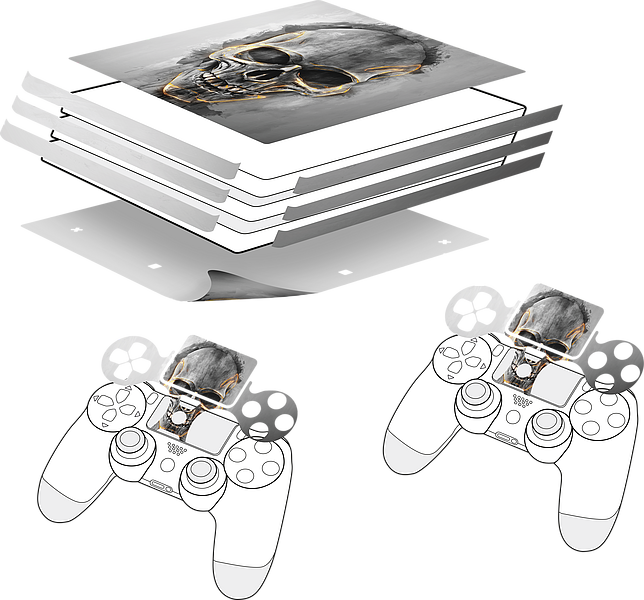 Sticker for PS4 PRO & Controller, Skull