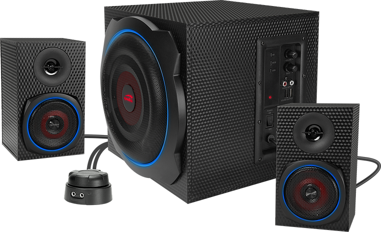 GRAVITY CARBON RGB 2.1 Subwoofer System, black