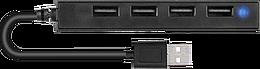 SNAPPY SLIM USB Hub, 4-Port, USB 2.0, Passive, Black